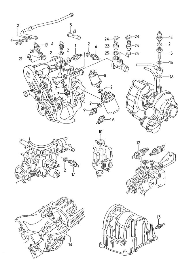 Audi RS4 Transmission case retaining clip oxygen sensor
