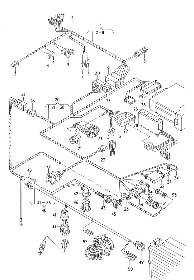 Audi Harness for compressor harness for electronically