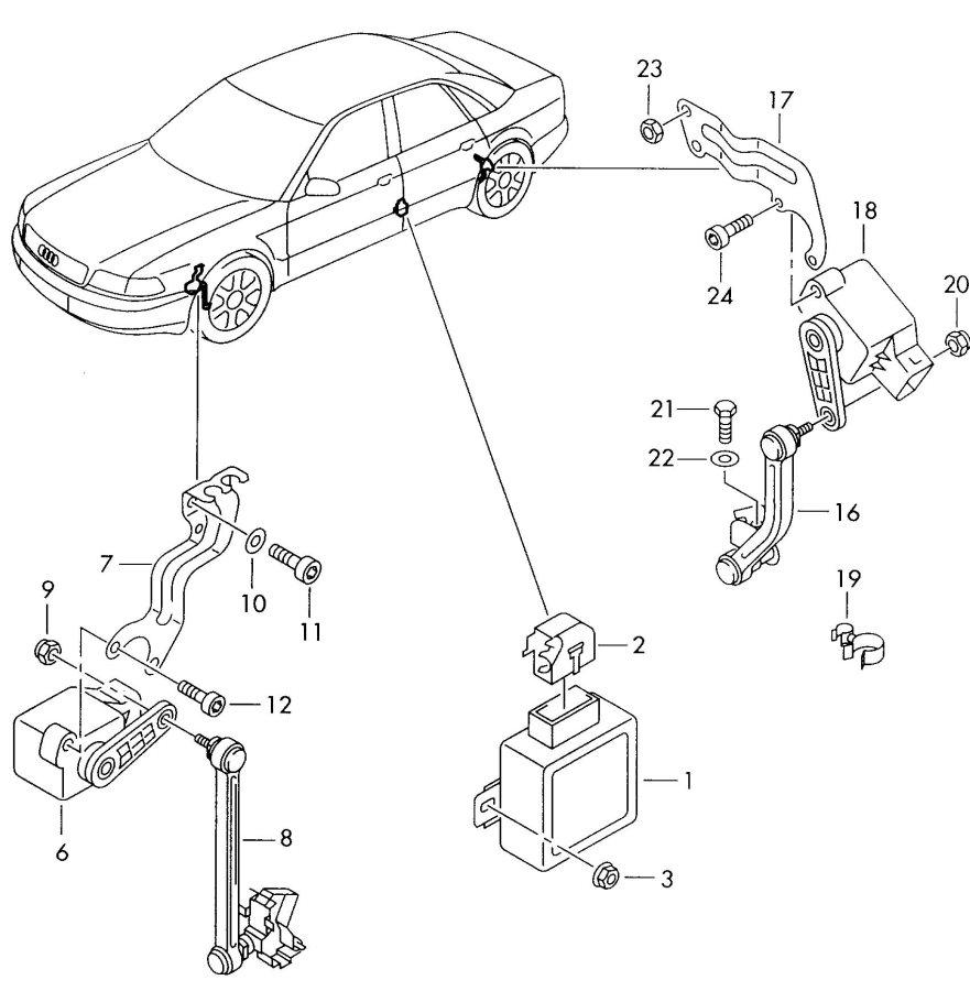 Audi Beam length adjustment electronic control unit for