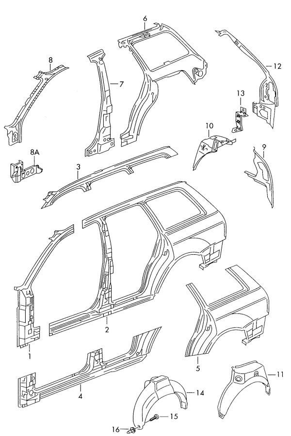 2001 Audi A4 Quattro Avant Wheel housing bracket. WHEEL