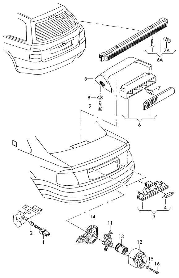 2002 Audi A4 Avant Additional brake light. HIGH MOUNTED