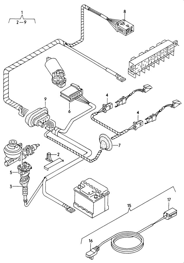 2001 Audi A4 Avant Pin (male) terminal housing dashboard