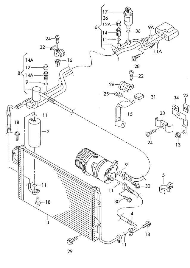 2003 Audi TT Coupe Air conditioner hose (air conditioner