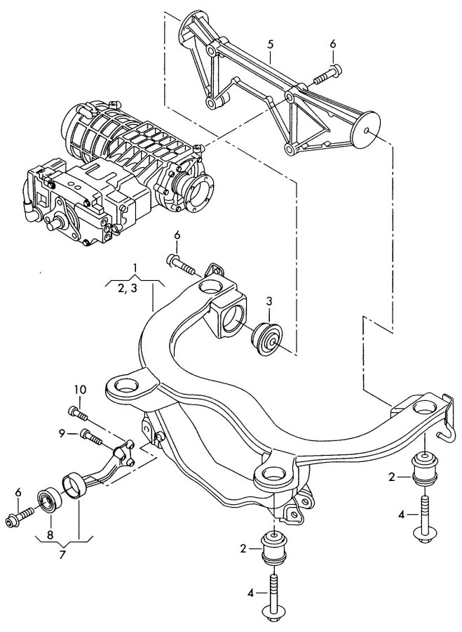2003 Audi TT Coupe Support for transmission. TRANSMISSION