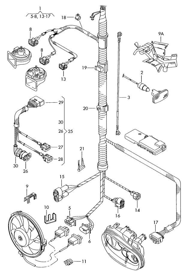 Audi TT Roadster Adapter wiring harness single parts