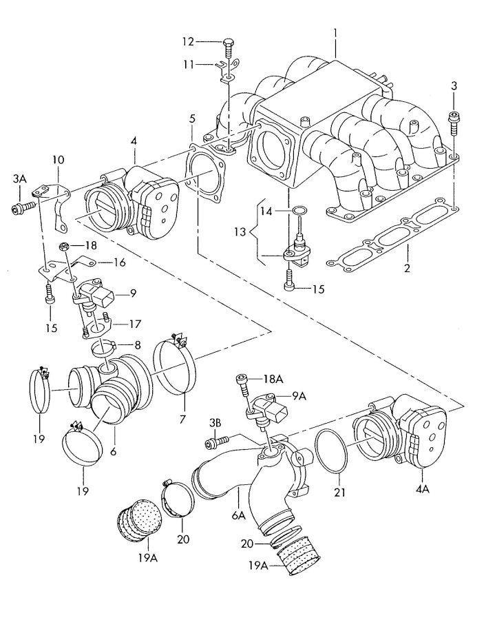 2002 Audi A4 Quattro Avant Intake air duct also use