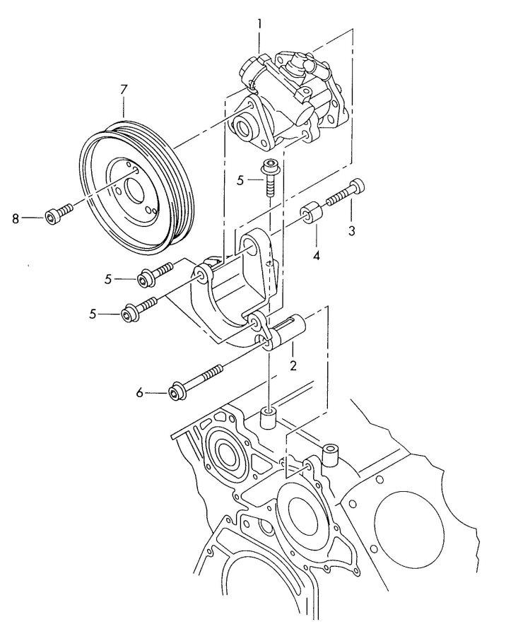 2001 Audi S6 Retainer for vane pump. VANE PUMP BRACKET