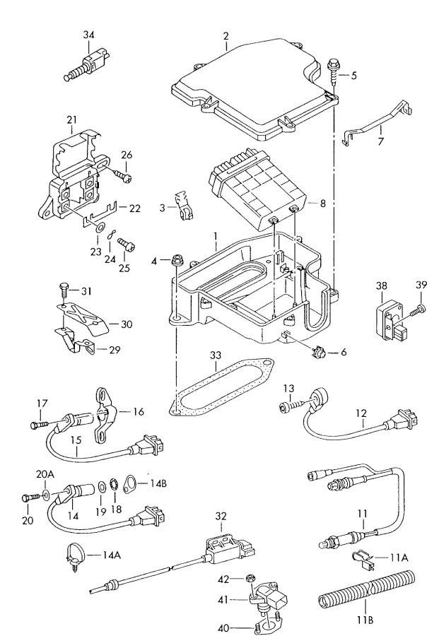 2001 Audi Knock sensor with harness. ANTIKNOCK SENSOR. KS