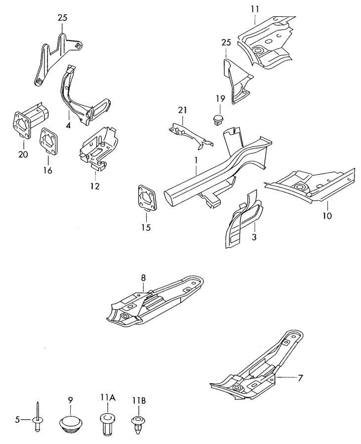 2002 Audi A4 Quattro Avant Reinforcement for also use: side member. SIDE MEMBER REINFORC