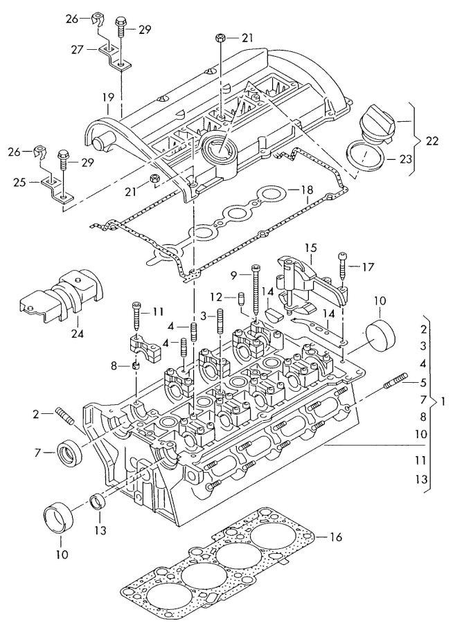 2004 Audi A4 Quattro 3.0L Cylinder head gasket (metal