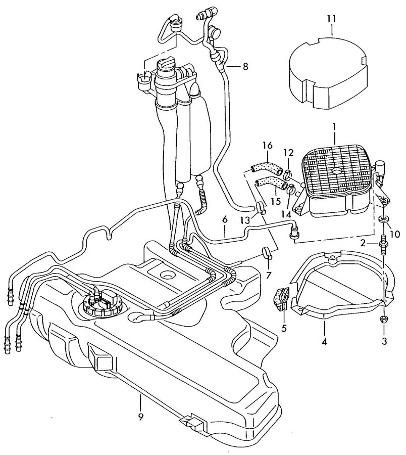Audi TT Roadster Evaporative emission canister. ACTIVATED