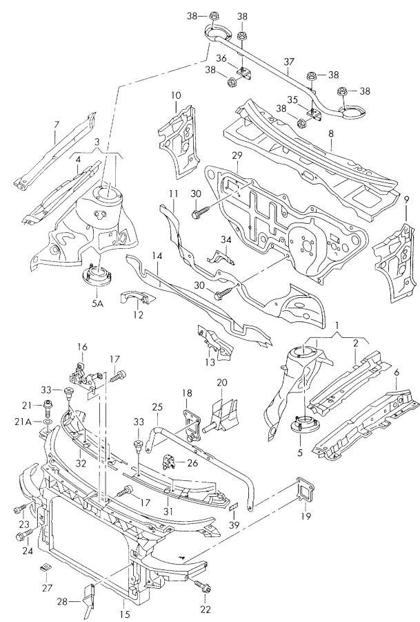 2004 Audi TT Roadster Bracket radiator for vehicles