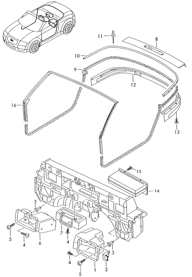 2004 Audi TT Coupe Storage bin cd-changer. CD CHANGER UNIT