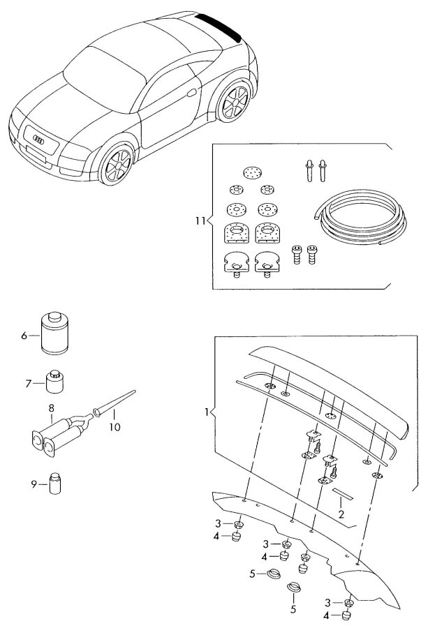 2002 Audi TT Roadster Spoiler securing repair kit