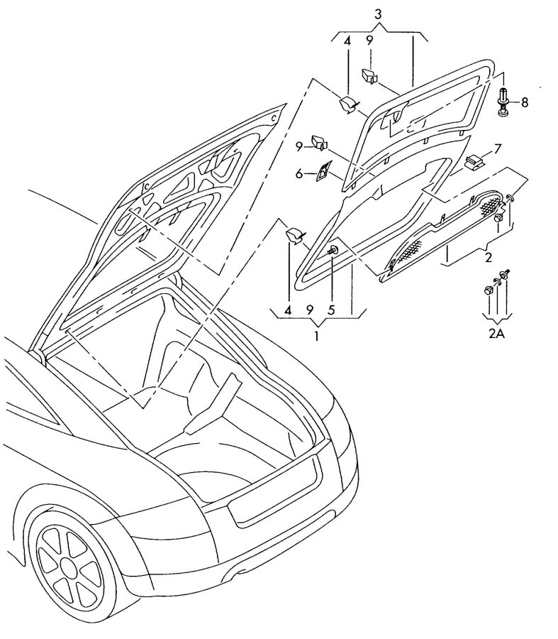 Service manual [1999 Audi A6 Rear Hatch Trim Panel Removal