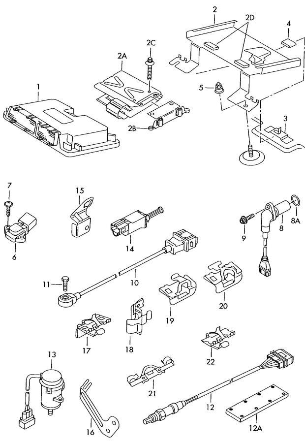 2005 Audi TT Roadster Water box oxygen sensor coupling