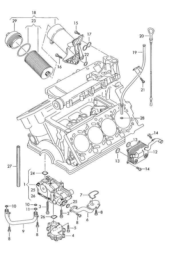 Audi A4 Quattro 3.0L Oil pump oil filter oil filter
