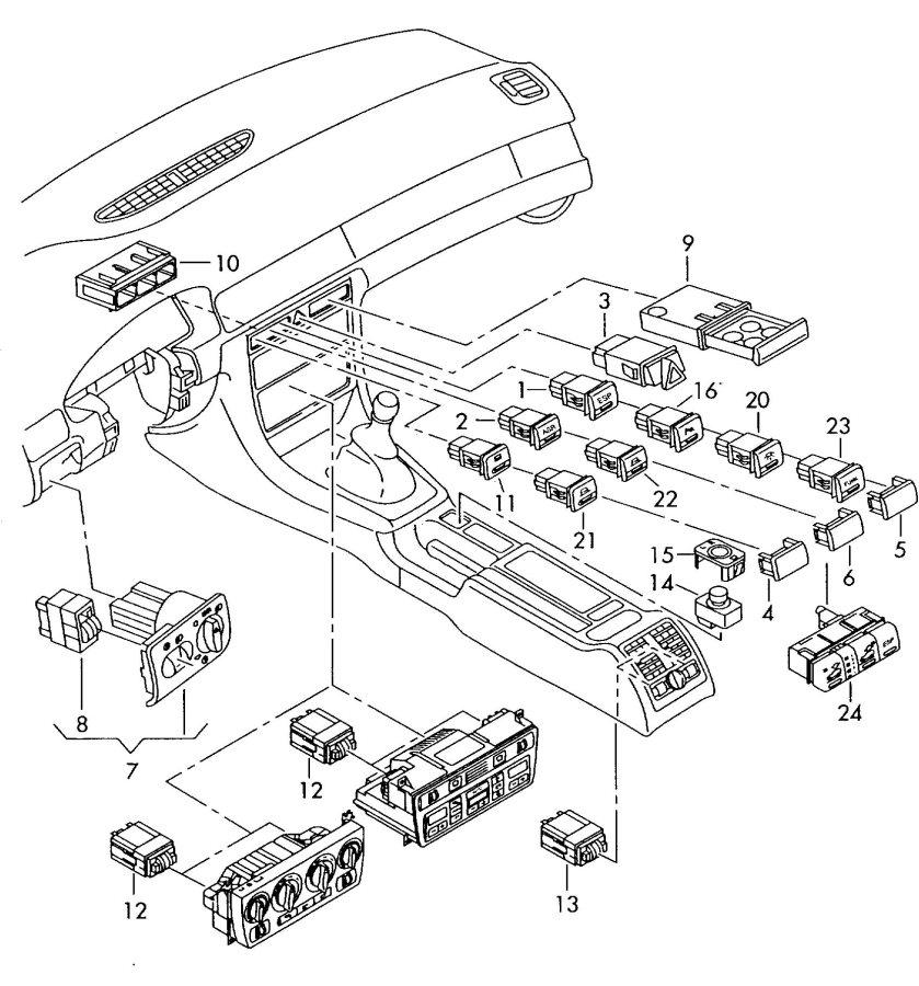 Audi A6 Quattro Allroad Hazard Warning Switch. A6/S6