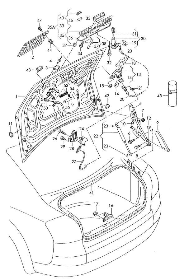 Audi A4 Cabriolet Rear trunk lid emergency release