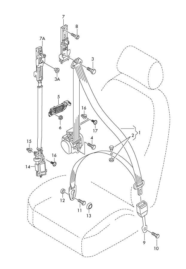 2011 Audi Seat Belt Guide (Upper, Lower). 2013-2016