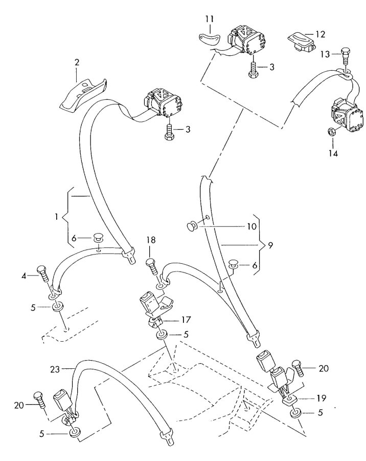 2005 Audi S4 Avant Harness for belt tensioner catch. BELT