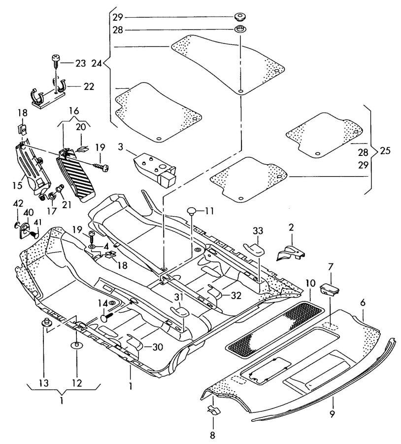 Audi Floor covering floor mat trim for parcel shelf, rear