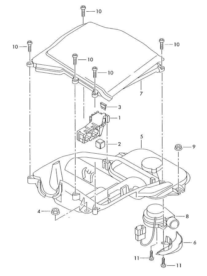 2005 Audi A4 Quattro Avant Water box bracket for connector