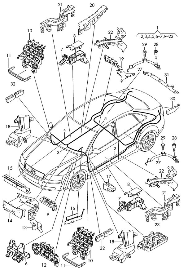 2002 Audi S4 Avant Wiring conduit seat support. SEAT CROSS
