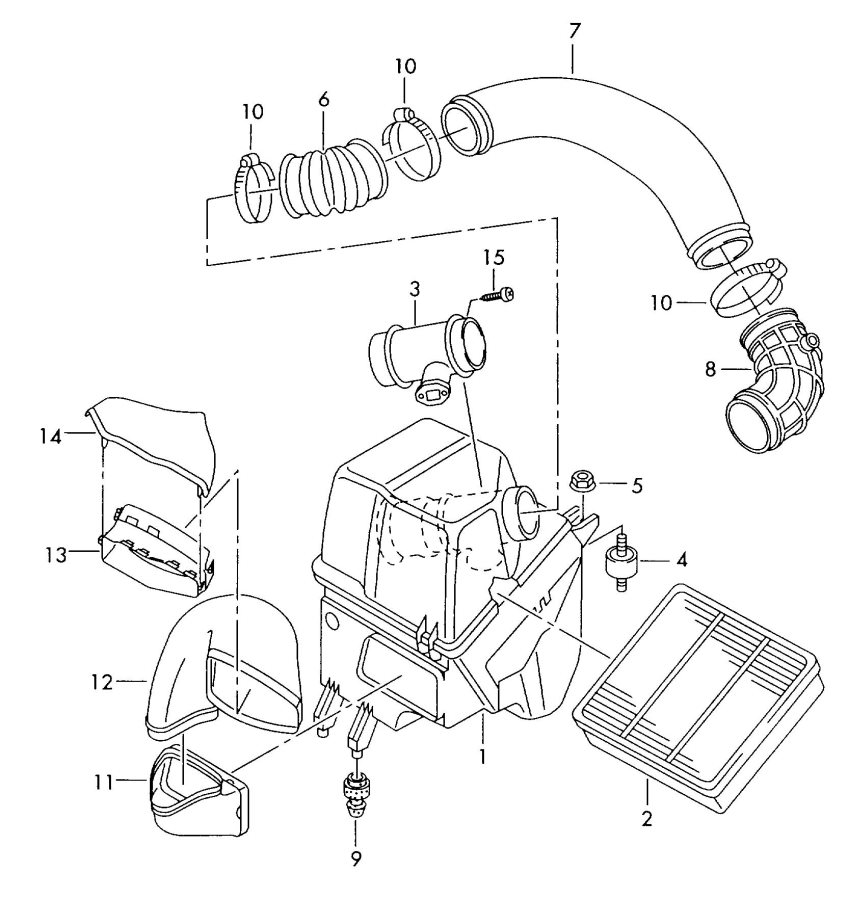 Audi S8 Mass air flow sensor. VOLUME AIR FLOW. AIR MASS