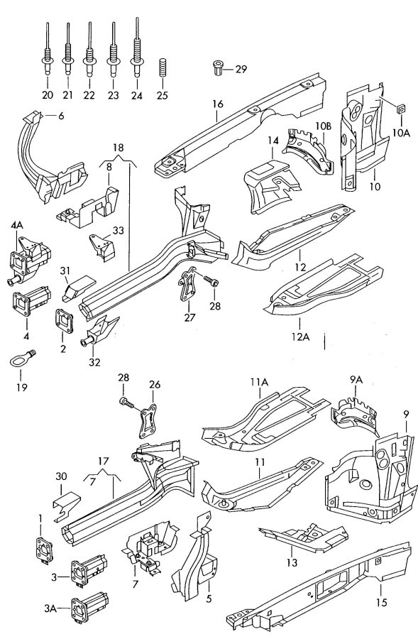 2002 Audi A6 Quattro Allroad Reinforcement for side member