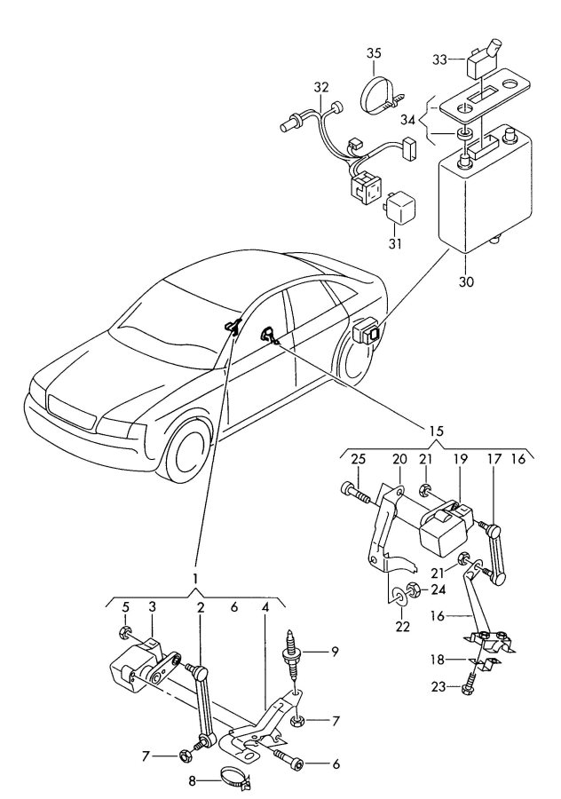 Audi A6 Quattro Allroad Self-lev. Sensor with linkage