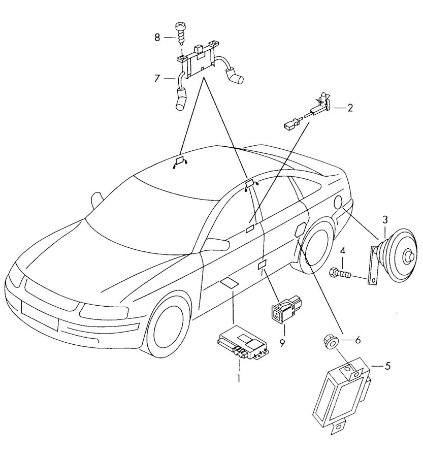 2001 Audi A6 Quattro Warning lamp for anti-theft alarm