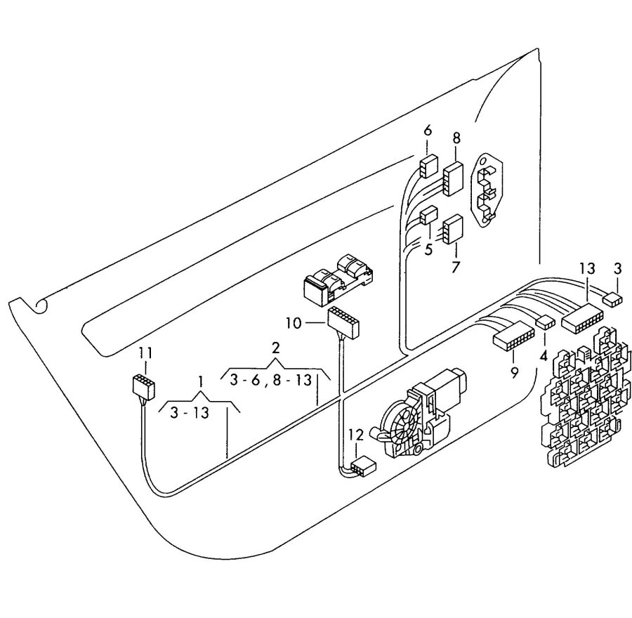 2002 Audi S6 Window lifter motor flat contact housing