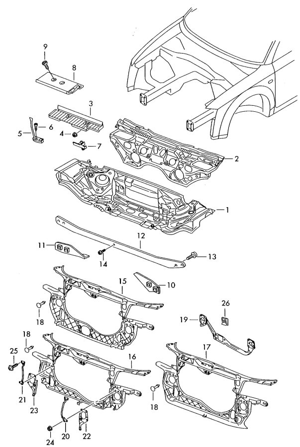 2003 Audi S4 Bracket battery mounting. ILLUSTRATION TEXT