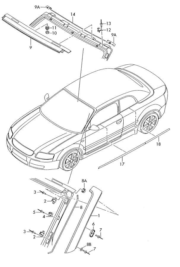 2005 Audi S4 Cabriolet Windshield Molding Rivet
