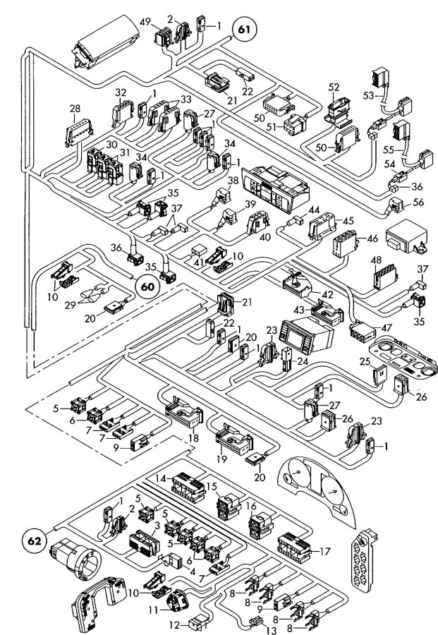 Audi Harness for interior single parts area: dash panel