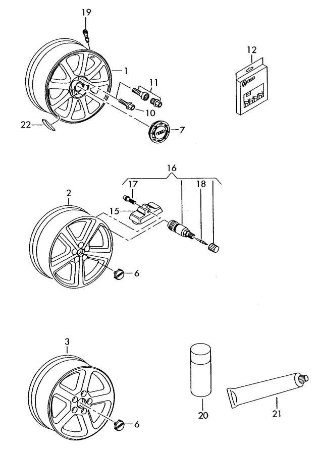 Audi Q7 Rubber valve for wheel disc 'steel' for 'alum