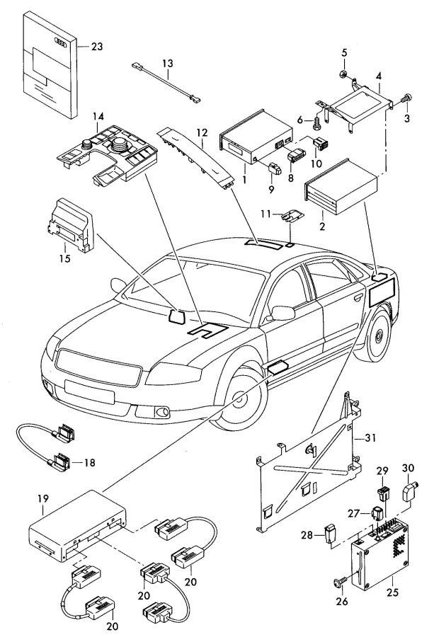 2006 Audi S8 Navigation unit bracket. NAVIGATION SYSTEM
