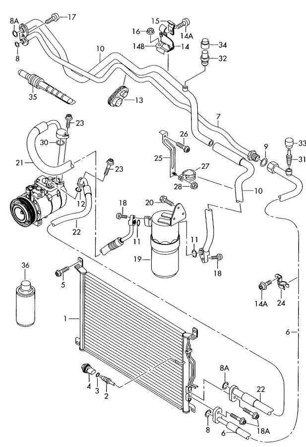2006 Audi A8 Quattro Air conditioner hose (fluid container