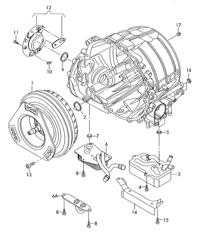 Audi A8 Quattro Torque converter oil cooler for 6 speed