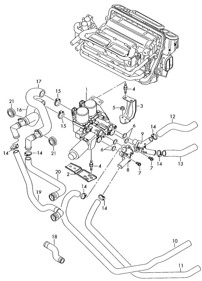 2009 Audi A8 Quattro 4.2L Heater hose. BVJ, BGK, BFM