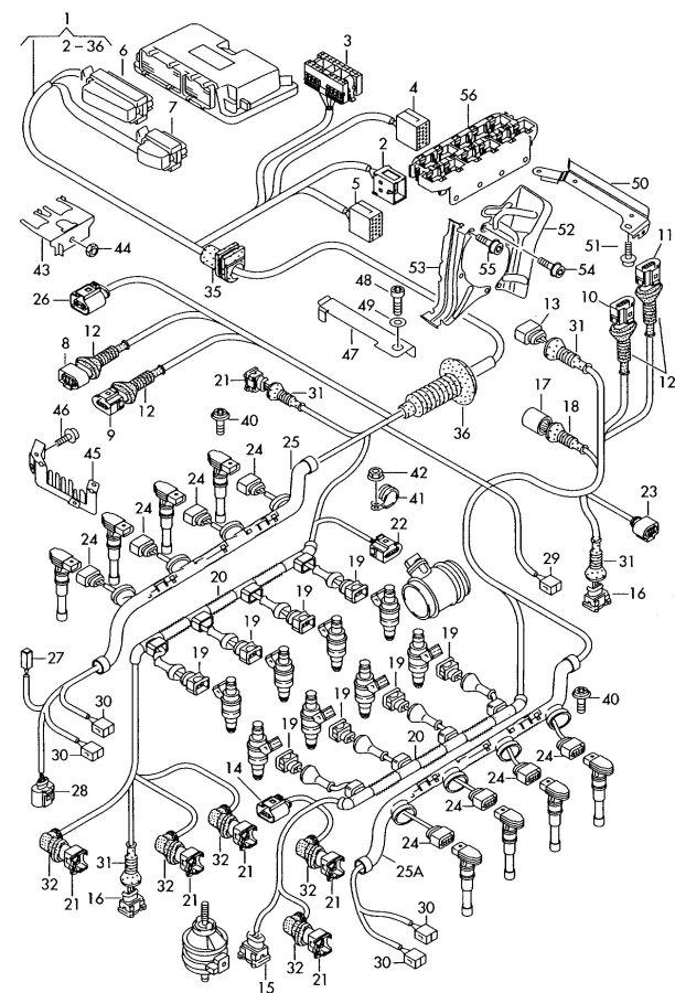 2004 Audi S8 Wiring conduit transmission. REMARK. Motronic