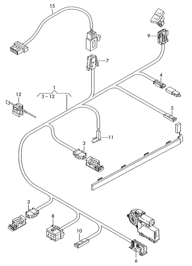 Audi Adapter wiring harness harness for door single parts