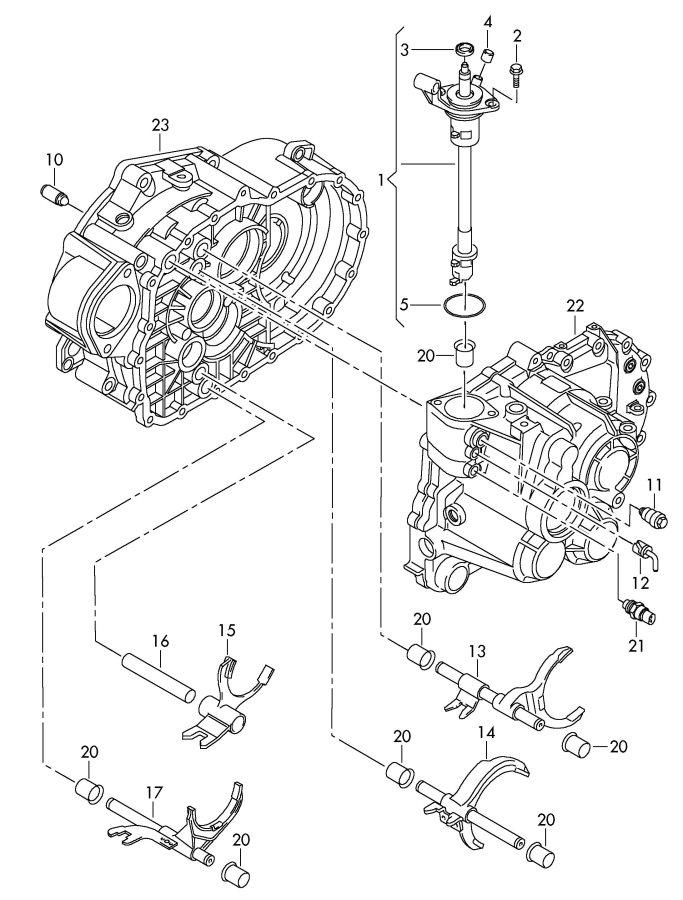 Audi TT Coupe Gear shift unit shift rod selector fork rail