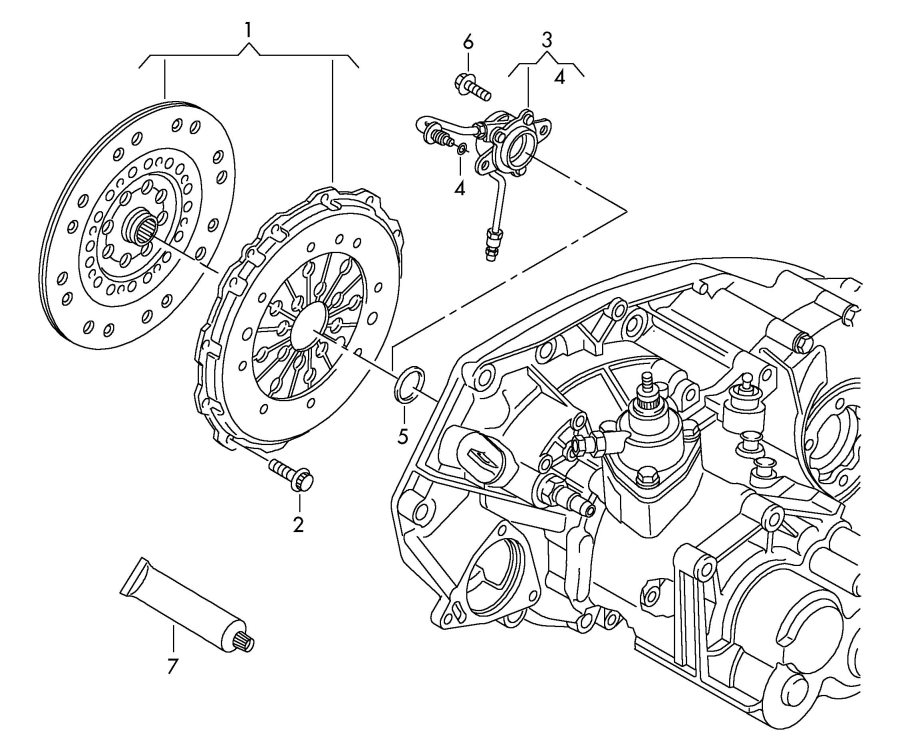 Audi TT Roadster 1.8L Clutch plate and pressure plate. LUK