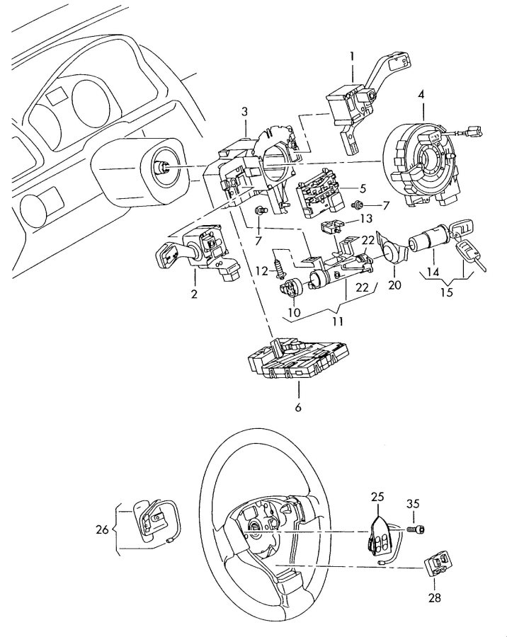 2006 Audi A3 Steering column lock with ignition switch and