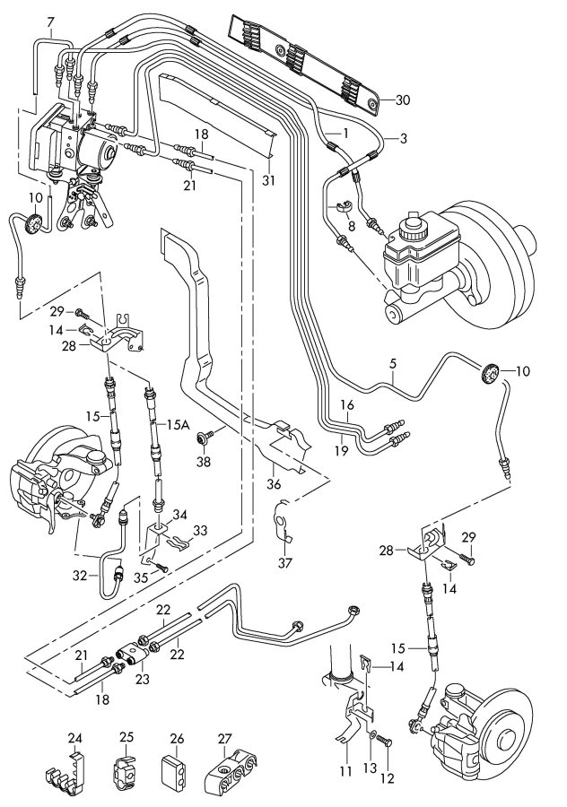 2005 Audi A3 Brake line from hydraulic system to brake