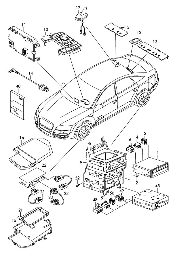 2007 Audi A6 Avant Connecter location: use if required to