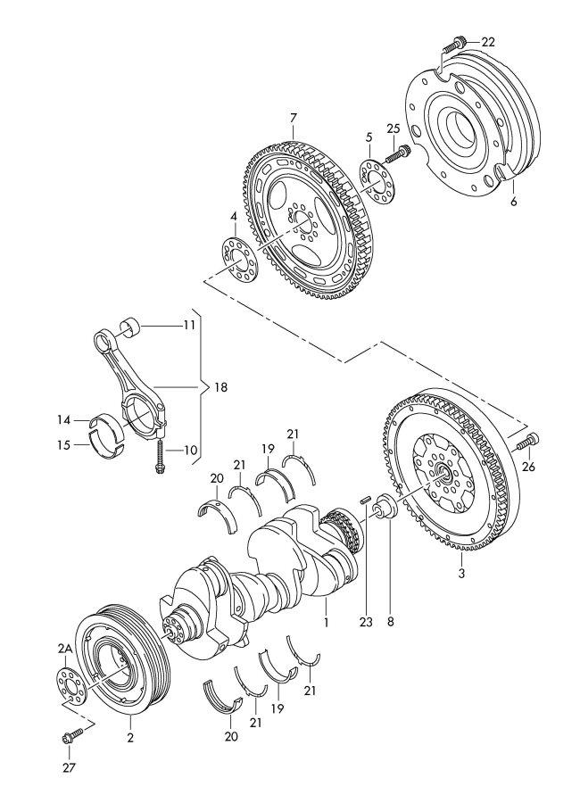 2010 Audi Q7 Comprising: 1 set of thrust washers