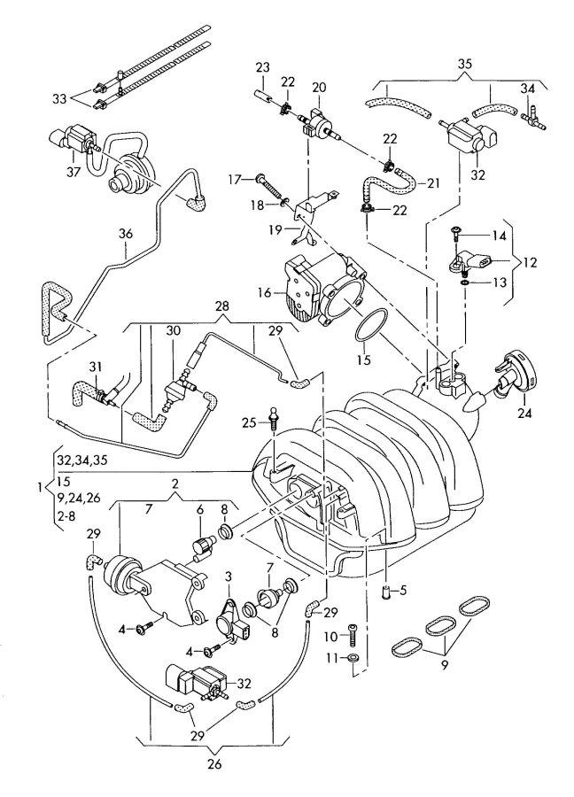Audi S4 Emission Check Valve. 5.2 LITER. 5.2 LITER, A.I.R